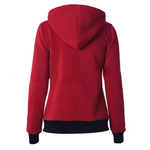 CHENGYANG Hoodie Veste Jacket casual Jumper Hauts zippé sweats à capuche Manches Longues sport sweat-shirt femme Rouge