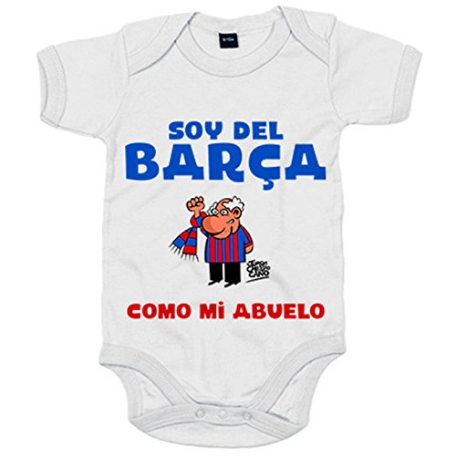 Body bebé soy del Barça como mi abuelo - Blanco, 6-12 meses