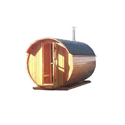 Fasssauna 2,5x2,2 m Lärche Fichte Elektro oder Holz Ofen Sauna Fass Gartensauna Fichte-Holzofen