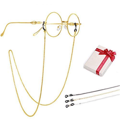 crazy-m 3 pcs Brillenketten gold für Lesebrillen Perlen Brillen Cord Brillenband Damen Lesebrille Brille Kette Sonnebrillen Band Lesebrillen Kette Lesebrillen Band Brille Cords Hals Cord