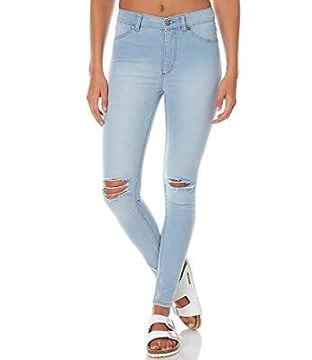 ANSH FASHION WEAR Women's Distressed Denim Jeans - Contemporary Regular Fit Knee-Rugged Denims for Women - Plain Mid Rise Ankle Length Jeans - Blue