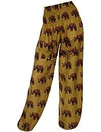Pantalones hindúes harén con diseño de elefante