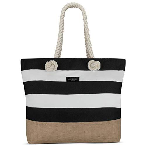 LARK STREET Strandtasche Schwarz Gestreift Beach Bag Damen & Herren aus robustem Baumwoll Canvas & Jute - Badetasche mit Breiten Kordeln für angenehmen Große Tasche mit Reißverschluss - Robuste Canvas Taschen
