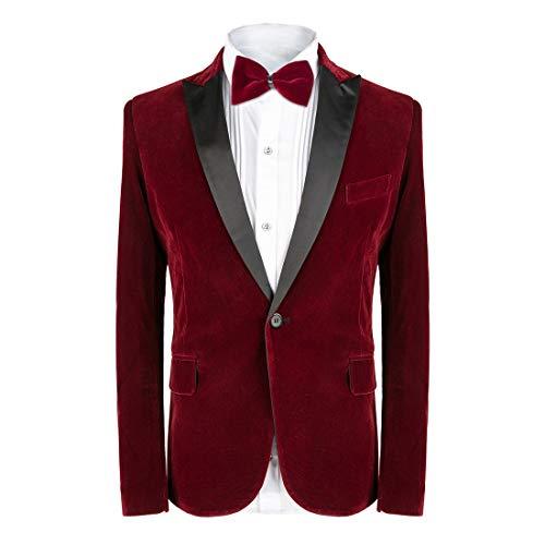 MAGE MALE Herren smoking anzug slim fit 2-teiliges samt-blazer-party-one button stilvolle abendessen jacke und hose x-large rot