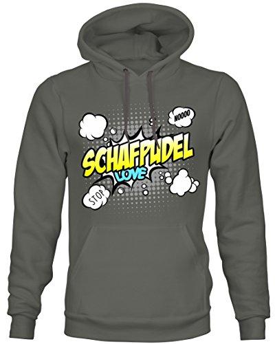 Unisex Hoodie Kapuzensweatshirt - SCHAFPUDEL Hund Hunde Motiv Altdeutscher Hütehund - COMIC Cartoon...