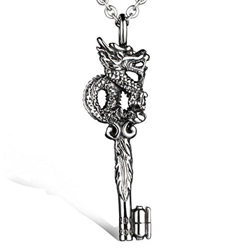 Acero inoxidable Stayoung joyas diseño de dragón Tribal Meeny CZ Collar con colgante de llave para hombre, color plateado