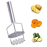 sinzau Potato Masher, Stainless Steel Dual-Press Mashing Plate for Smooth Mashed Potatoes, Vegetables and Fruits