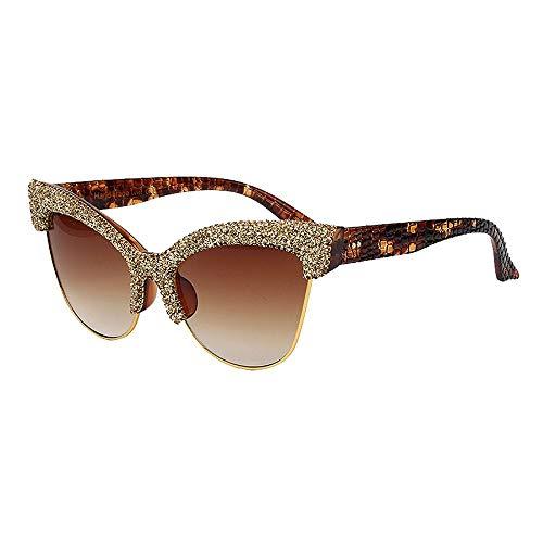 XIELH Sonnenbrille Mode Cat Eye Sonnenbrille Frauen Vintage Übergroße Sonnenbrille Für Männer Halb Randlos, Gold