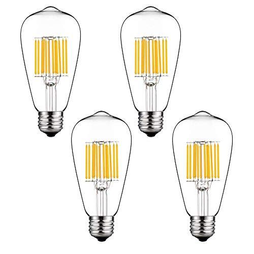 Lustaled 12W ST64 LED Lampe Kaltweiß 6000K 220V 1300 Lumen ST64 Edison LED Glühbirne E27 wie 120W Traditionelle Glühbirne für dekorative Laternen / Deckenleuchten / Kronleuchter / Anhänger (4-Stück, Nicht dimmbar)