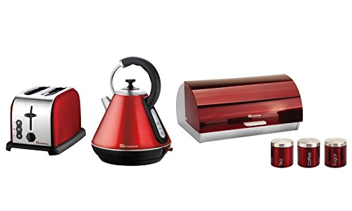 6PC Set of Electric Kettle, Toaster, Bread bin & 3 Canisters – Red
