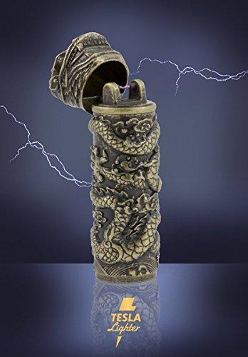 Tesla-Lighter T02 | Lichtbogen Feuerzeug, elektronisches USB Feuerzeug, Single-Arc Lighter, wiederaufladbar - verschiedene Farben (Bronze-Drache)