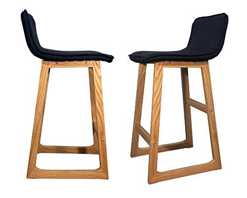 Meubletmoi 2Stück Holz Barhocker schlichtem Design mit Fußstütze–Cab