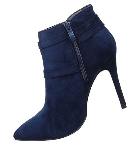Damen Stiefeletten Schuhe Stiletto High Heels Mit Schnalle Schwarz Blau