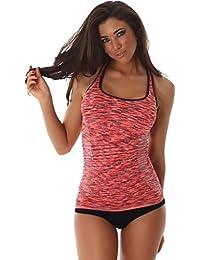 Damen Fitness-Top Sport Tanktop Oberteil Training Jogging Running Sportswear Stretch Einheitsgröße (32/34/36)