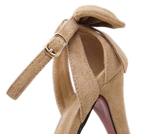 L&Y Donne Pompini a cinghia delle pompe Sandali Piattaforma Estate Heavy Heel alti Scarpe a righe impermeabili a punta aperte Nero Marrone Giallo