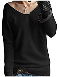 LongMing Damen Mode Kaschmir Pullover Sexy lose Große langen Ärmeln V-Ausschnitt Fledermausflügel Herbst und Winter Ärmel Pullover