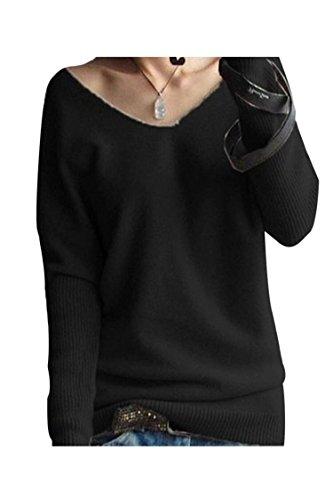 LongMing Damen Herbst und Winter Amicor arbeiten lose mit langen Ärmeln V-Ausschnitt-PulloverSexy Pullover mit V-Ausschnitt Pulli tollen Farben, Schwarz, Gr. S / EU Size 32-38 (Kaschmir-pullover Design)