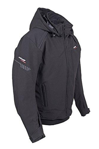 RO 1513 kurze Softshell Hoodie Jacke: Schwarze Motorradjacke mit Protektoren, Belüftungssystem, Klimamembrane und herausnehmbarem Thermofutter