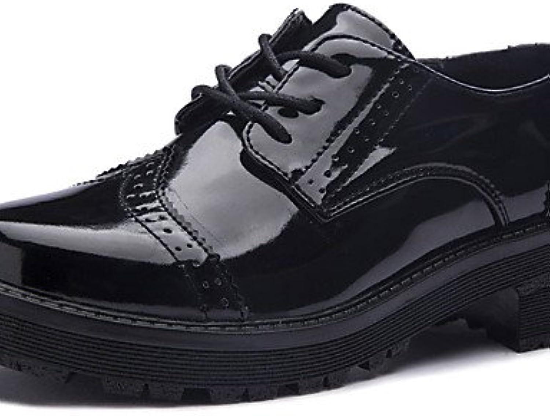 NJX/ Zapatos de mujer-Tacón Plano-Confort-Oxfords-Casual-PU-Negro , black-us8.5 / eu39 / uk6.5 / cn40 , black-us8.5...