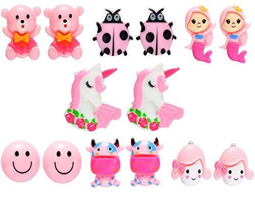 Kinder Ohrclips Modeschmuck, 7 Paare Rose Clip Ohrringe Mädchen Spiel Ohrklipp Prinzessin Klipp Ohrring Set für Party