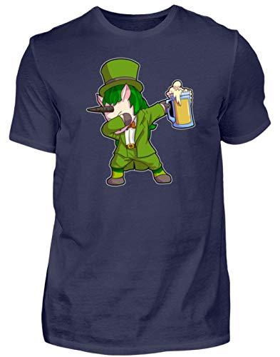 St. Patricks Day Shirt Dabbing Einhorn Unicorn Leprechaun Bier Day Irisch Kobold Kostüm - Herren Shirt -L-Dunkel-Blau