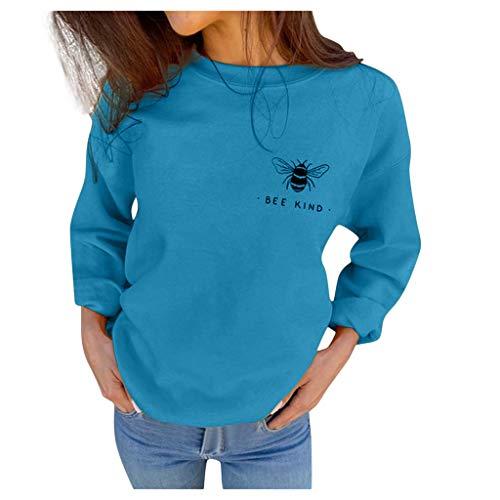 Xmiral Pullover Damen Biene Drucken Sweatshirts Herbst Rundhals Beiläufige Lose Blusen Fleece Plüsch Warm Strickwaren Hemden(Blau,M)