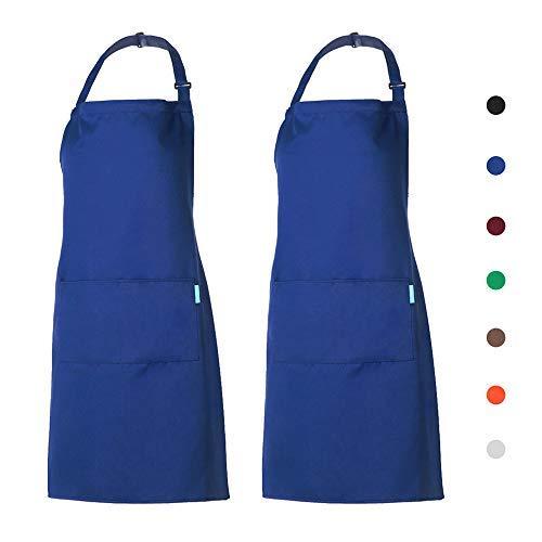 esonmus Schürze Kochschürze Küchenschürze 2 Set mit 2 Taschen Latzschürze kochschürze für Frauen Männer Chef verstellbarem Nackenband (Blau)