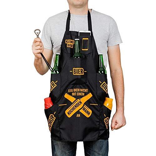 Männer Grillschürze mit 7 Taschen und Flaschenöffner - Mann am Herd Kochschürze Küchenschürze