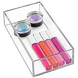 iDesign Maquillaje y cosméticos, Organizador de cajones pequeño de plástico Libre de BPA, Caja apilable para baño, Cocina y Oficina, Transparente, S: 10 cm x 20,3 cm