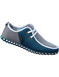 Yudesun Zapatos para Hombre Mocasines - con Cordones Náuticos Ligero Confortable Suela Blanda Cuero Moda Casual