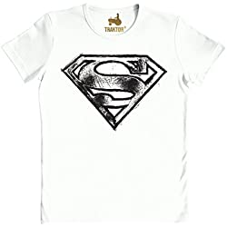 Logoshirt Camiseta Unisex SUPERMAN - LOGO SCRIBBLE Camiseta Ajustada Blanco XXL