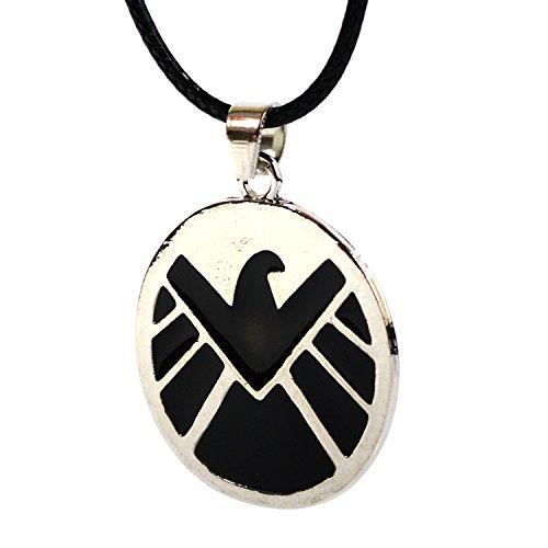 The Avengers Age of Ultron schwarz und silber Anhänger–Justice League Superhelden Marvel S.H.I.E.L.D. Halskette Wenn Geschenk-Box