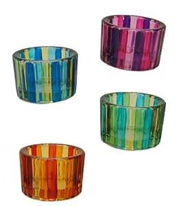 Teelichthalter bunt gestreift 4er set glas for Teelichthalter glas bunt