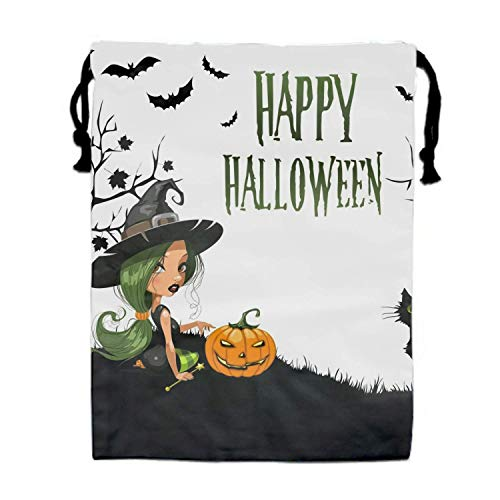 Naiyin Happy Halloween Drawstring Bags Waterproof Party Favors Pouch Tote Bag Sack for Girls Boys