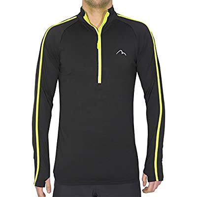 More Mile Mens Hi Viz Half Zip Long Sleeve Running Top