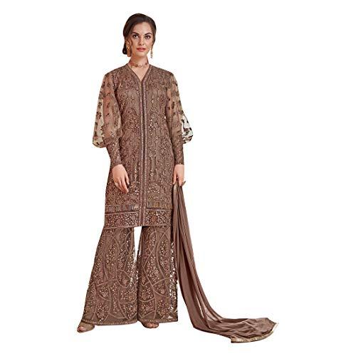 Brown New Eid Collection Indische muslimische Braut pakistanische Bollywood Anarkali Salwar Kameez bereit, Designer Boden Touch Net schwere Stickerei 7887 zu tragen Super Net Saree