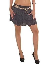 3aff69f3e8520e schöner Damen Mini Rock Strandrock Sommerrock Stufenrock Glockenrock  Volantrock mit Gürtel optimal für Sommer DMR003