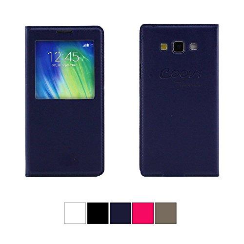 COOVY® ULTRA DÜNNES FENSTER VIEW COVER für Samsung Galaxy A7 SM-A700F SM-A700 Schutz Hülle Sichtfenster Case mit DISPLAYSCHUTZFOLIE Farbe dunkelblau