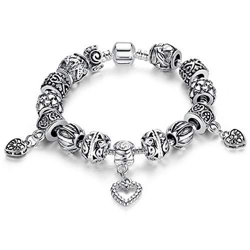 Braccialetto delle donne, argento fai da te perline braccialetto grande buco del tallone, gioielli in stile etnico, maschio, adatto per i regali di compleanno, regali di vacanza, san valentino,18cm