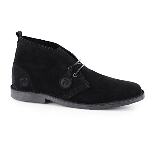 Popps ORIGINAL Unisex Mens Womens Suede Leather Desert Boots Black 42