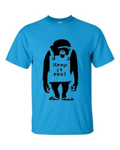 Keep It Real Banksy style T-Shirt Blau