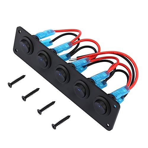 5 Gang 12V Wippschalter für Auto Marine Boat Circuit Breakers Überlastgeschützte LED-Licht Rocker Switch Panel Circuit - schwarz -