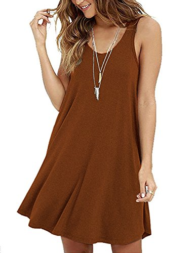 Damen Ärmelloses Casual Loose T-Shirt Kleid (T-shirt T-shirt Kleid)