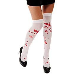 DRESS ME UP - W-035 Medias Halloween Carnaval blanco manchas de sangre horror enfermera zombie