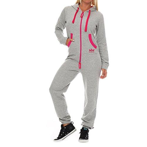 Finchgirl Damen Jumpsuit Jogger Jogging Anzug Trainingsanzug Overall Hellgrau Pinked