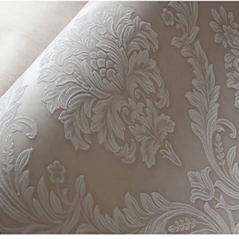 Europäische Vliestapete - Schlafzimmer Wohnzimmer TV Hintergrund Wand 3D geprägt Damaskus 50305 flaches Khaki
