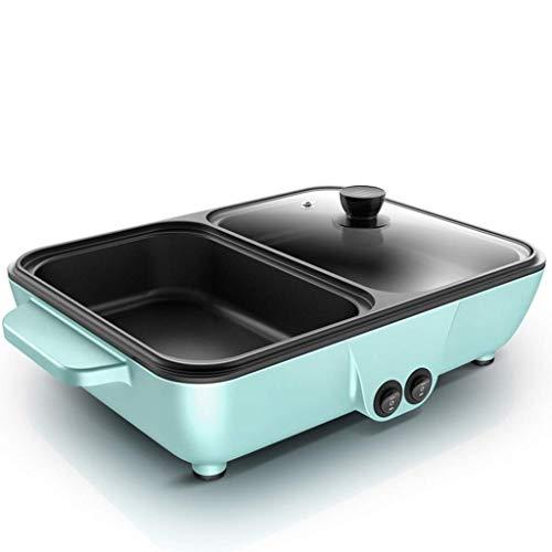 OhLt-j Hot Pot Grill Integrierte Rauchfreie Antihaft-Pfanne Backform Multifunktionsgrill Elektrische Bratmaschine Ofen Hause Backform 1400 Watt (Farbe: Rosa) (Color : Blue)