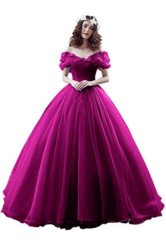 Victory Bridal Damen Wunderschoen Fuchsiaes Kurzarm Abendleider Quincenera Ballkleider Lang Promkleider Cinderella -42 - Team Bella Kostüm