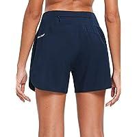 BALEAF pantalones cortos para correr con cremallera trasera y bolsillos para mujer de 12,7 cm con forro