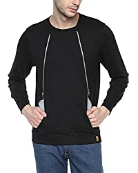 Campus Sutra Black Mens Contrast Inner Lined Double Zipped Sweatshirt (AW15_H2ZIP_M_PLN_BL_S)